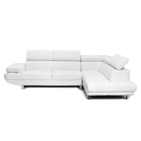 miliboo canap 233 d angle en cuir blanc avec t 234 t achat