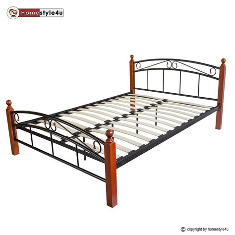 Wood And Iron Bed Frames Metal Bed Iron Bed King Wood Slatted Black Brown Bed Frame 8077 Ebay