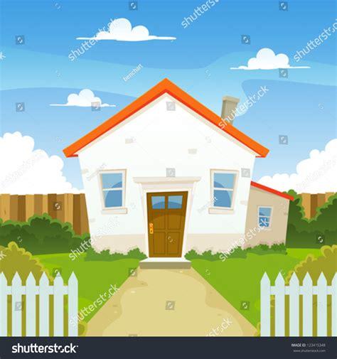 backyard of a house house illustration cartoon house spring summer stock vector 123415348 shutterstock