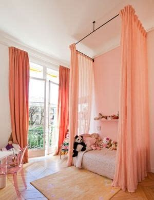salmon curtains ceiling mounted bed curtains in salmon peach pink color in