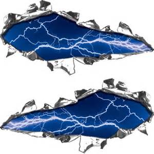 Lightning Car Decals Ripped Torn Metal Look Decals Lightning Blue Rips