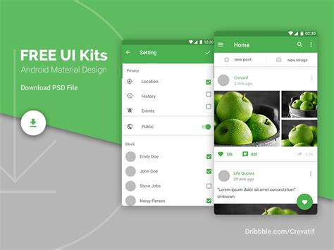android material design freebiesbug android material design ui kits by mostafa a dribbble