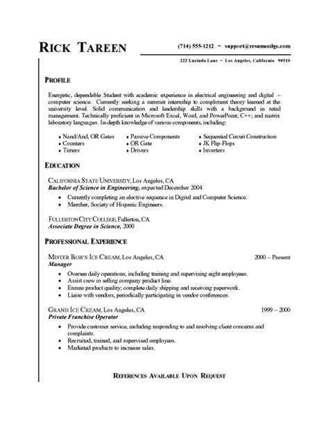 Best Resume Out Of College by College Student Resume For Internship Berathen Com