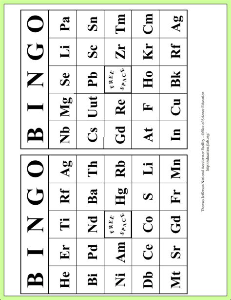 printable periodic table element cards element periodic table bingo science pinterest