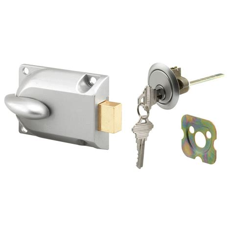 Garage Door Key Lock Mechanism by Prime Line Aluminum Painted Center Mount Deadbolt Lock