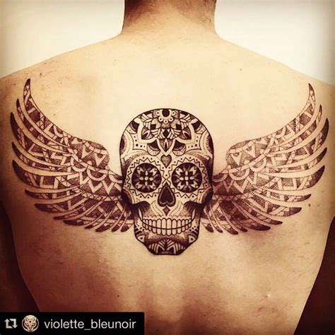 back tattoo skull wings dia de los muertos men tatouage