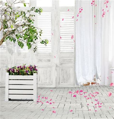 Photobooth By Whitestudio 2017 white door curtain pink petal 5x7ft vinyl backdrop