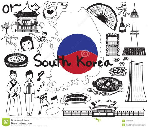 Travel To South Korean Doodle Drawing Icon Stock Vector