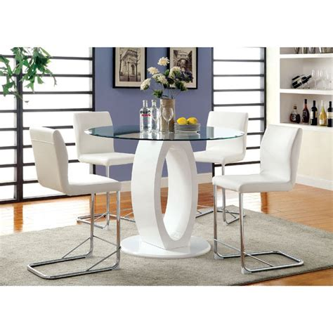 Lodia Set lodia white glass top counter height table set