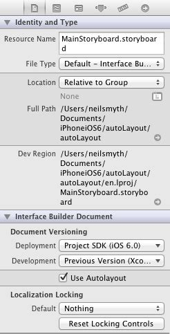 enable layout xcode working with ios 6 auto layout constraints in interface