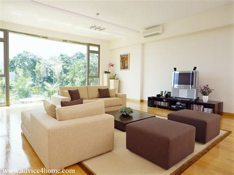 design a living room online cream and brown sofa design and white wall in living room