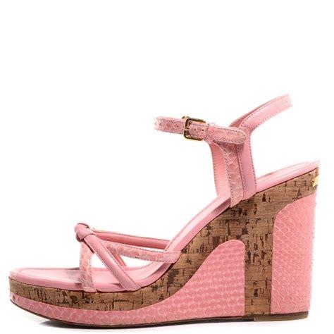 Sandal Wedges Opp10 Lv Murah Louis Vuitton Python Leather Wedge Sandals 41 Pink 75252