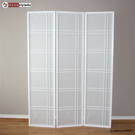 White Room Divider 3 Part Room Divider Wood Paravent Screen In White