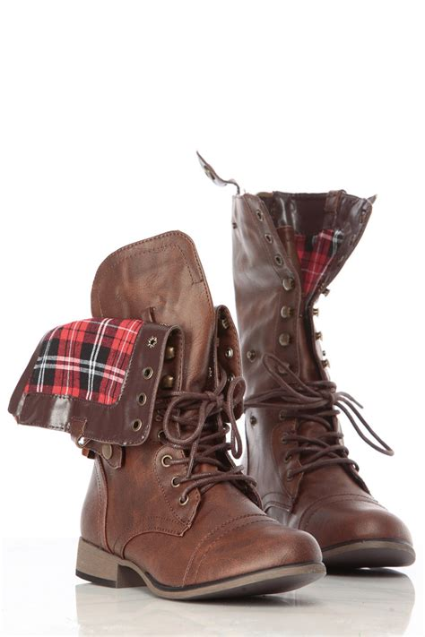 brown faux leather fold plaid print combat boots