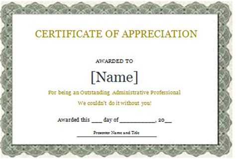 ms word certificate of recognition template word