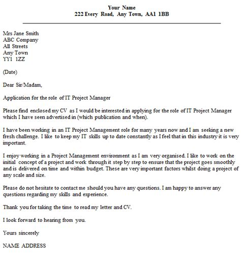 project manager cover letter icoverorguk