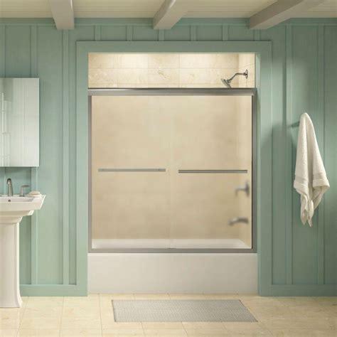 Kohler Gradient 59 5 8 In X 58 1 16 In Semi Frameless Kohler Tub Shower Doors