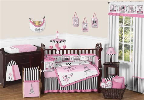pink black eiffel tower nursery bedding 9pc