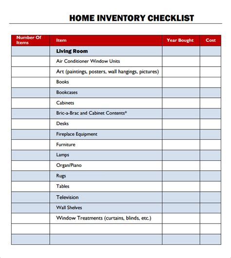 household inventory checklist template sle helloalive