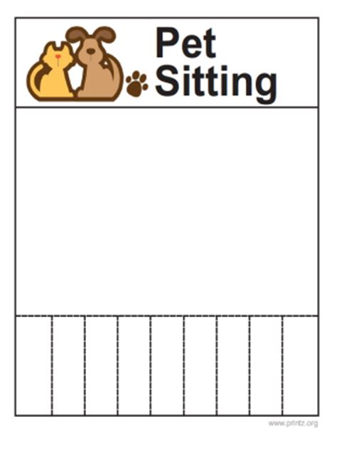 sitting template pet sitting flyer