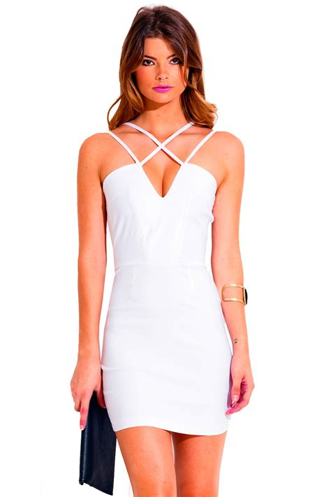 V Neck Bodycon Basic Mini Dress E40021 White all white caged v neck cut out fitted bodycon pencil cocktail mini dress can t be caged