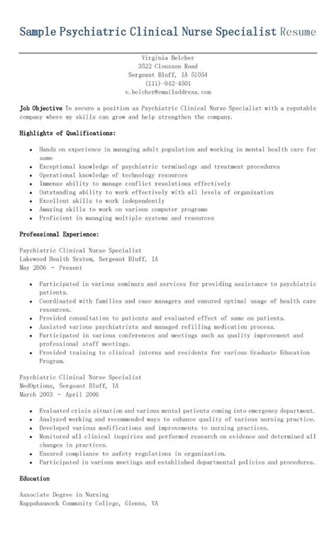 Clinical Specialist Resume Templates Sle Psychiatric Clinical Specialist Resume Resame Clinical