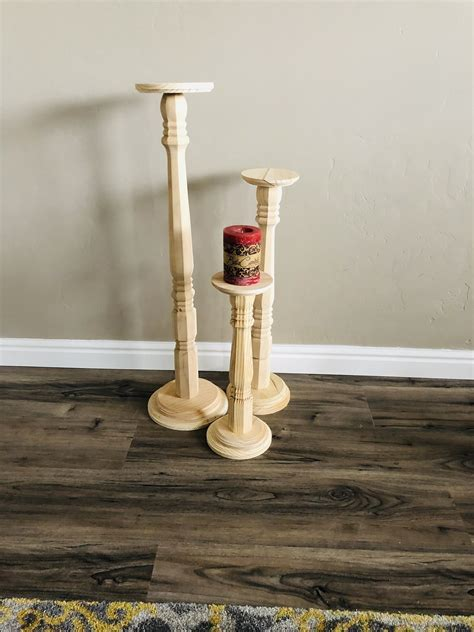 3  Tall Wood Pillar Candlestick Holders, Wedding Decor