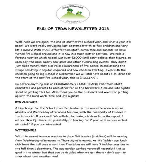 10 Preschool Newsletter Templates Free Sle Exle Format Download Free Premium End Of Template