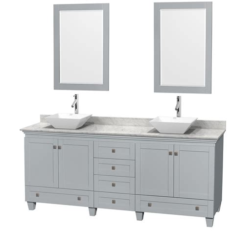 80 Inch Bathroom Vanity Accmilan 80 Inch Sink Bathroom Vanity In Grey Finish White Porcelain And Bone