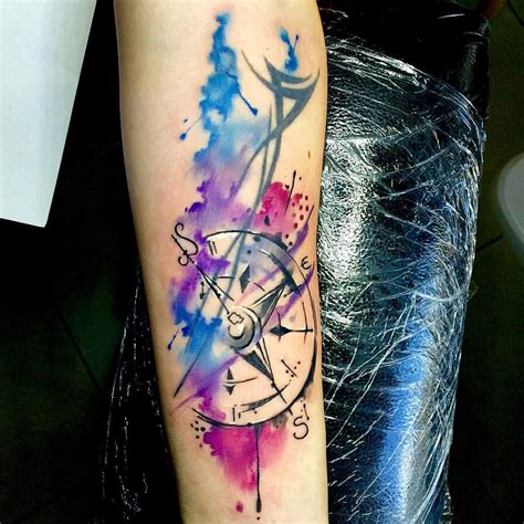 old watercolor tattoo just a simple watercolour compass that needed to