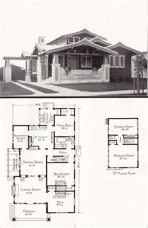 californian bungalow floor plans asian style airplane bungalow 1918 house plans by e w