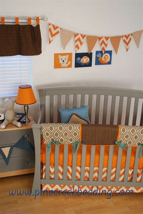 Orange Aqua And Brown Crib Bedding Zig Zag Chevrons In Crib Bedding Orange