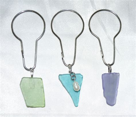 beach shower curtain hooks sea glass shower curtain hooks beach glass aqua blue pale