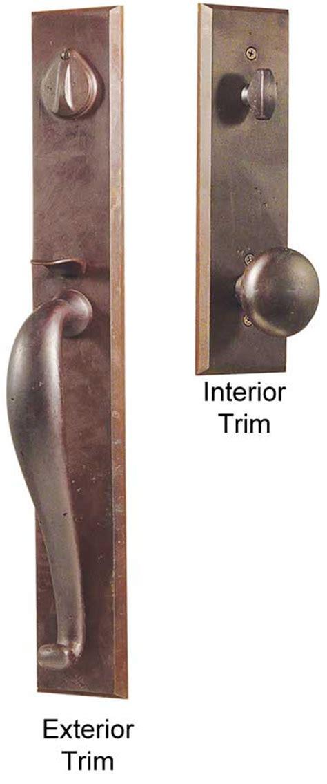 Entry Door Handles by Emtek Rectangular Length Sandcast Bronze Entry Door Handle Shop Entry Set Door Locks