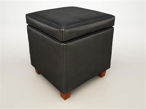Ottoman Black Cubes Ottoman Black 500902 Co 3d Model Max Cgtrader