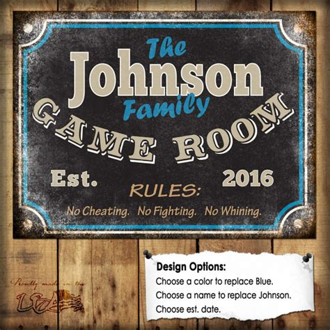 home decorating rules family game room sign metal sign 12x16