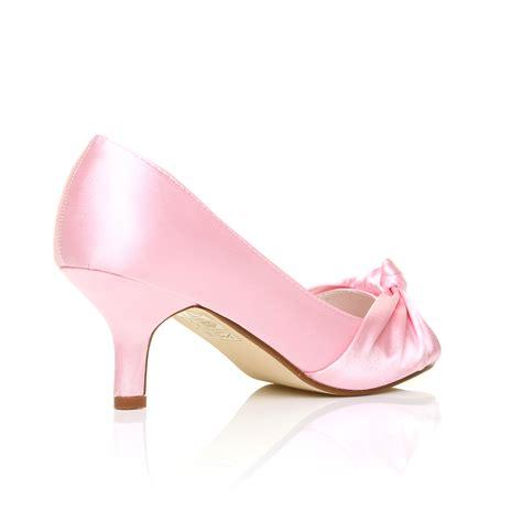 Pink Bridal Heel womens wedding bridal prom shoes low heel
