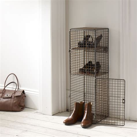 commercial shoe storage mesh locker unit in copper finish industrial