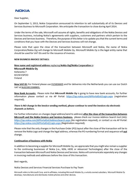 Closing Business Letter To Vendors Nokia Oyj To Become Microsoft Mobile Oy Nokia To Retain Its Suppliers Base Post The Deal