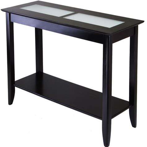 syrah console table espresso with frosted glass walmart