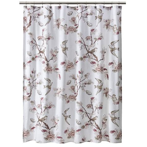 shower curtains with birds on them threshold shower curtain bird pink curtains