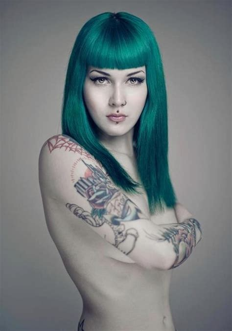 teal tattoo teal hair and tattoos cool hair colors