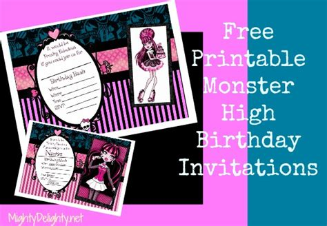 6 best images of printable monster high invitations