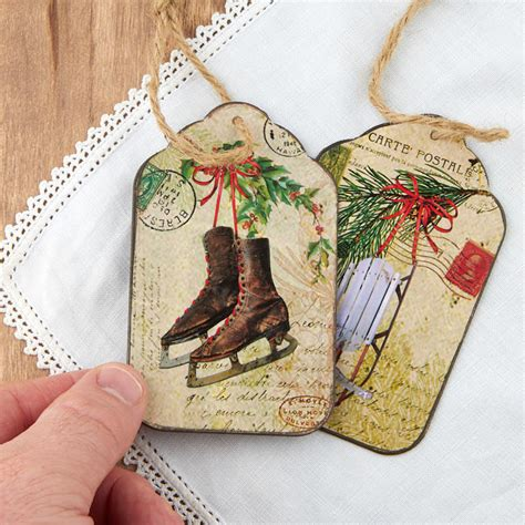 vintage inspired christmas tag ornament new items
