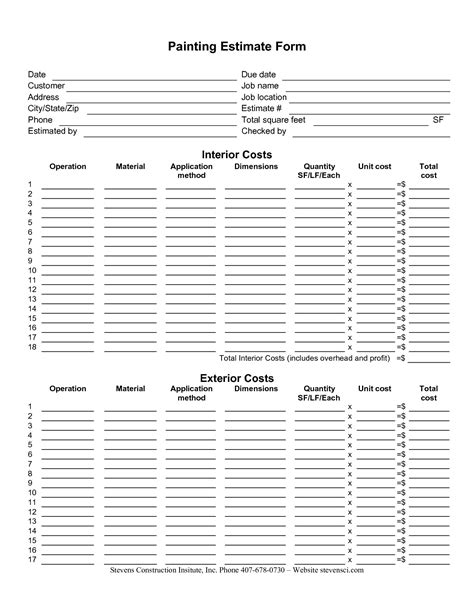 construction estimate template sheets