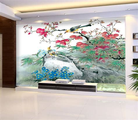 ink painting bird flower wall paper print decal wall