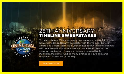 Sweepstakes Postmarked - universal orlando resort win 1 of 25 prizes of a 3 556 trip for giveawayus com