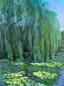 Tree Print Shower Curtain Weeping Willow Tree And Water Lilies Painting By Lynne