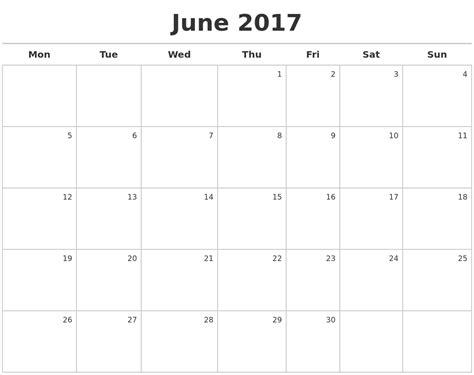 Calendar 2017 June June 2017 Calendar Maker