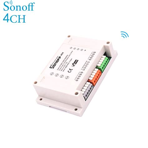 Sonoff Rail Mounting Wifi Smart Switch 4 Channel sonoff 4ch 4 channel din rail mounting wifi timer switch 90 250v for smart home appliance ios